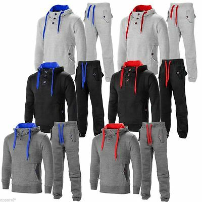 New Mens Contrast Cord Fleece Warm Up Hooded 3 Button Jogging Tracksuit