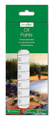 10 Oil Colour Paints X 6ml Tubes of High Quality Paint / Hard-Wearing