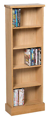 Oak DVD CD Storage Rack | Wooden Shelving Tower/Holder/Stand/Unit with 5 Shelves