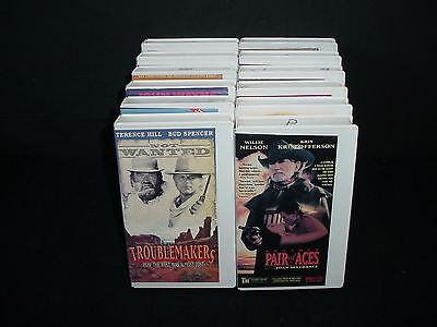 Lot of 12 Westerns Cowboys Video Tape VHS Movies in White Cases