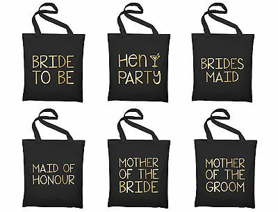 Gold Hen Party Large Tote Bags - Printed Gift Present Keepsake Wedding Favour Do