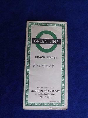 Green Line Coach Routes Map London Transport United Kingdom 1954