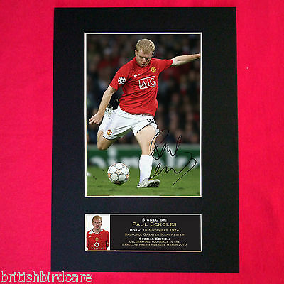 PAUL SCHOLES Autograph Mounted Signed Photo RE-PRINT A4 50
