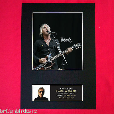 PAUL WELLER Autograph Mounted Signed Photo RE-PRINT A4 88