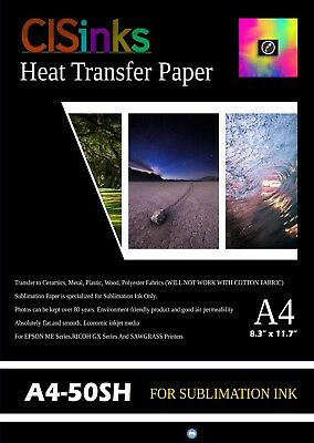"50 Sheets A4 (8.27"" x 11.7"") Sublimation Ink Heat Transfer Paper Inkjet Printer"