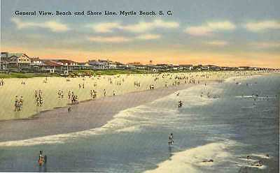 1939 MYRTLE BEACH SC early Beach Bathers and WATERFRONT HOMES  postcard