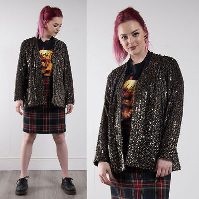 Vintage Black And Gold Sequin Blazer Jacket 80's Eighties Oversize 12