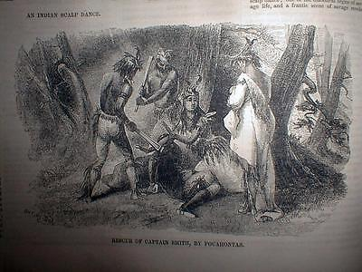 * 1852 Illustrated newspaper engravings RESCUE of JOHN SMITH by POCAHONTAS &