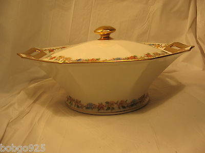 Theodore Haviland Rosemary Covered Vegetable Serving Bowl Limoges France Flower