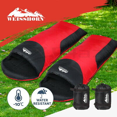 WEISSHORN 2X Camping Envelope Sleeping Bag -10°C Single Thermal Tent Hiking Red