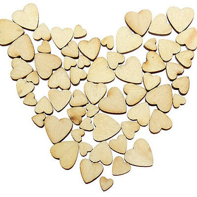 60X Wooden Mix Szie Love Heart DIY Art Craft Cardmaking Scrapbooking Hot Sale