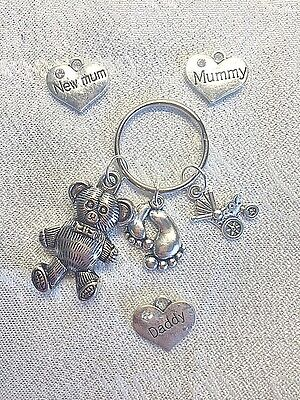 NEW BABY PERSONALISED KEY RING CHARM Mummy Daddy TEDDY BEAR PRAM SHOWER GIFT