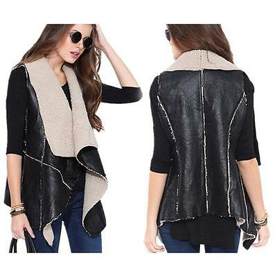 Women Sleeveless Coat PU Leather w/ Faux Fur Liner Warm Vest Waistcoat Jacket B