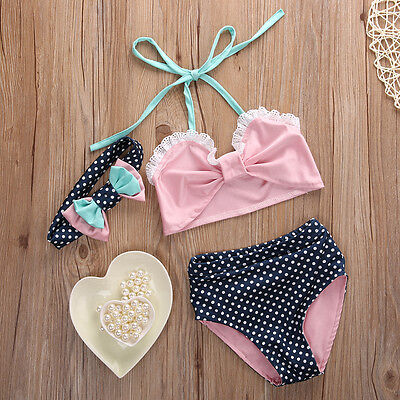 Kids Girl Bikini Suit Pink Lace Tops Polka Dot Bottom Swimwear Swimsuit Costume