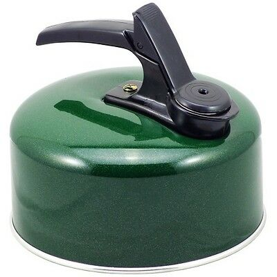 1.75pt / 1lt  Whistling Camping Kettle Fixed Handle in Green Aluminium 24080G