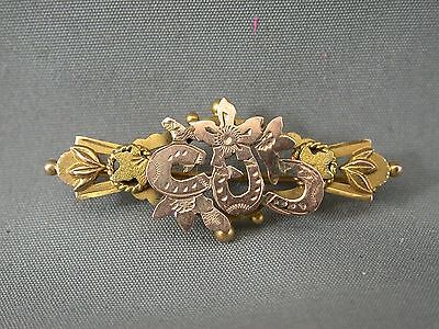 Antique 9k Rose & Yellow Gold Edwardian Pin Brooch Horse Shoes & Maple Leaf 1912