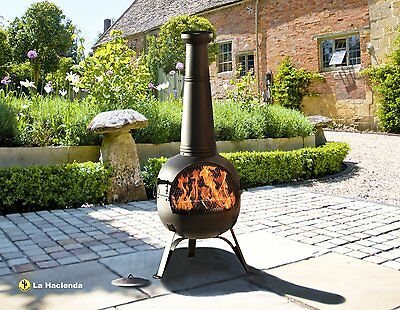 Extra Large Steel 134Cm Chiminea 'rancho' Patio Heater With Bbq Grill