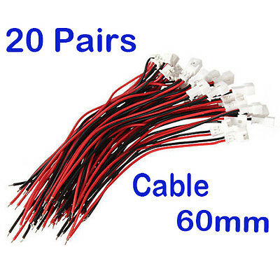 20Pairs x JST Micro 1.25 2Pin Male Female Connector plug with Wires Cables 60mm