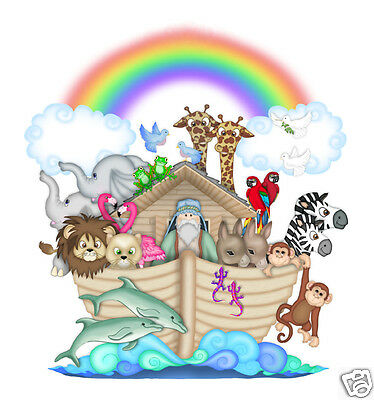Noahs Ark Decal Nursery Mural Wall Art Safari Animals Stickers Baby Jungle Room