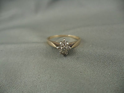 Vintage Estate 10k Yellow Gold Diamond Ring Engagement Size 7.5 Cluster 9 Stones