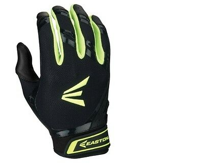 Easton HF7 Hyperskin Fastpitch Women's Batting Gloves NEW Black/Optic Yellow