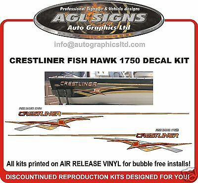 HUGE BOAT GRAPHIC STRIPE  CRESTLINER FISH HAWK 1750 reproduction decal