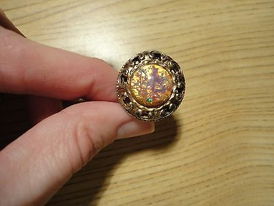 Vintage Raised Round Cocktail Ring WHITING & DAVIS Cabochon Sz 6 PINK MULTI