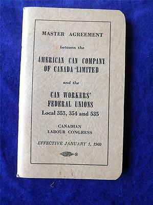 American Can Canada United Steel Workers America Unions Master Agreement 1960