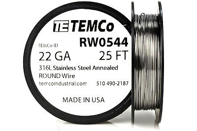 TEMCo Stainless Steel Wire SS 316L - 22 Gauge 25 FT Non-Resistance AWG ga