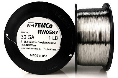 TEMCo Stainless Steel Wire SS 316L - 32 Gauge 1 lb Non-Resistance AWG ga