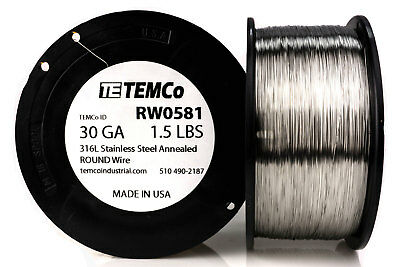 TEMCo Stainless Steel Wire SS 316L - 30 Gauge 1.5 lb Non-Resistance AWG ga
