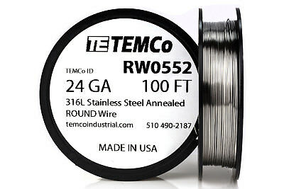 TEMCo Stainless Steel Wire SS 316L - 24 Gauge 100 FT Non-Resistance AWG ga