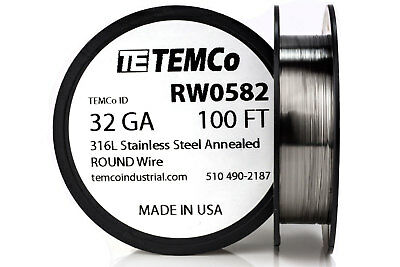TEMCo Stainless Steel Wire SS 316L - 32 Gauge 100 FT Non-Resistance AWG ga