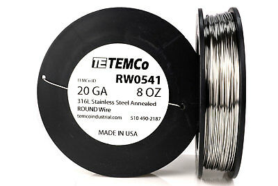 TEMCo Stainless Steel Wire SS 316L - 20 Gauge 8 oz Non-Resistance AWG ga