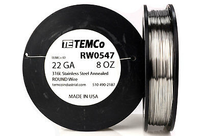 TEMCo Stainless Steel Wire SS 316L - 22 Gauge 8 oz Non-Resistance AWG ga