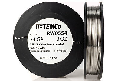 TEMCo Stainless Steel Wire SS 316L - 24 Gauge 8 oz Non-Resistance AWG ga