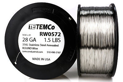 TEMCo Stainless Steel Wire SS 316L - 28 Gauge 1.5 lb Non-Resistance AWG ga