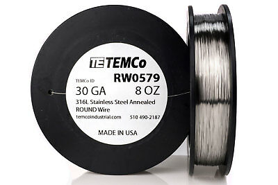 TEMCo Stainless Steel Wire SS 316L - 30 Gauge 8 oz Non-Resistance AWG ga