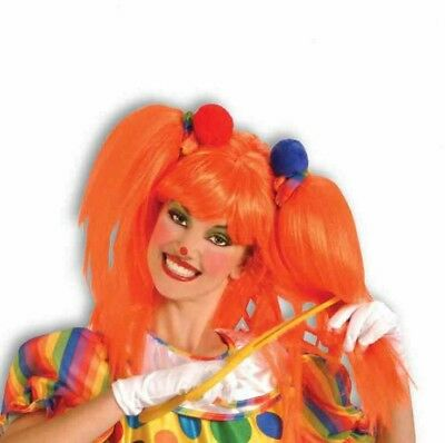 Orange Comic Cutie Clown Adult Wig Costume Accessory NEW Pigtails
