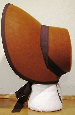 Brown Felt Bonnet Hat Adult Costume Accessory NEW Dickens Victorian