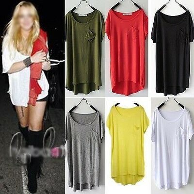 WHOLESALE BULK LOT OF 15 MIXED COLOUR Slouchy Loose Long Top Blouse T-Shirt T089