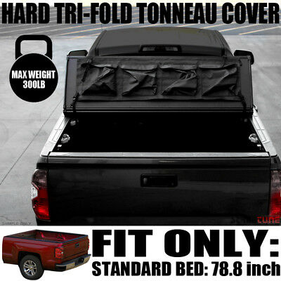 Tri-Fold Solid Hard Tonneau Cover+Tool Bag 14-16 Silverado/Sierra 6.5 Ft Bed