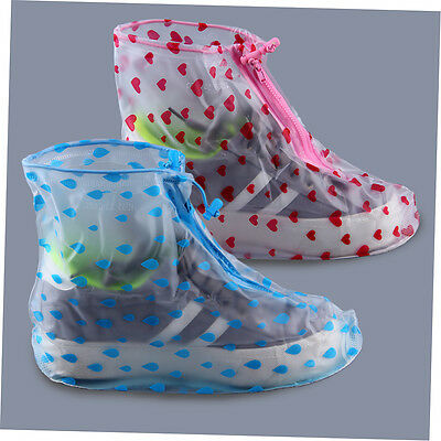 Waterproof Rain-proof Flat Shoes Cover Front Zipper Protector Boot M-XXL NL