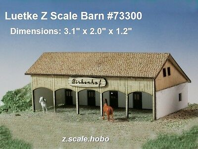 Luetke Z Scale Barn Country Horse Stables Laser-Cut Wood Kit *NEW USA DEALER