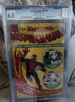 MARVEL Comics SPIDERMAN SILVER age #8 1963 CGC 6.5 Mid grade