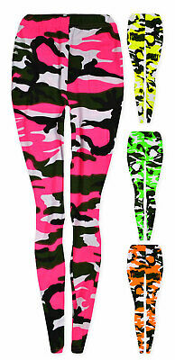 Girls Neon Camo Legging New Full Length Camouflage Print Pants Ages 7 - 13 Years