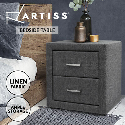 Bedside Table 2 Drawers Side Storage Cabinet Nightstand Lamp Chest Fabric Grey
