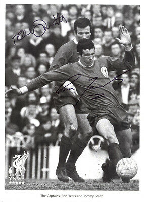 Tommy Smith & Ron Yeats, Liverpool FC legends, signed 12x8 inch b&w photo. COA.