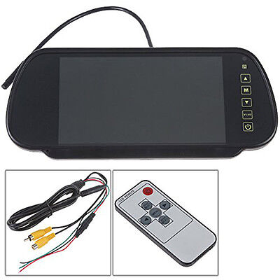 QR 7 Inch 16:9 TFT LCD Widescreen Car Rearview Mirror Monitor with Touch Button