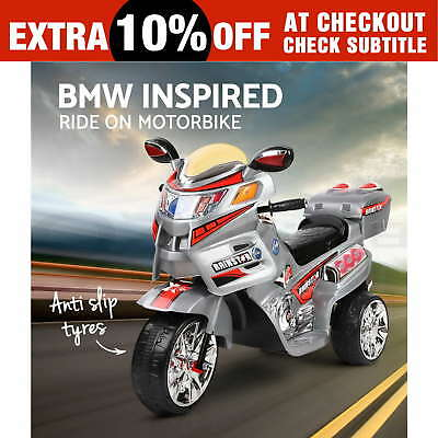 Kids Electric Ride On Motorbike Car BMW Style Motorcycle Patrol Toys Bike Police